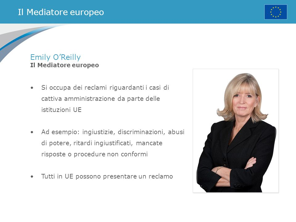Il Mediatore europeo Emily O'Reilly