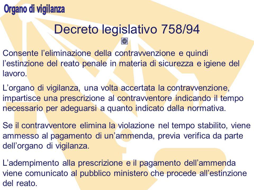 Decreto legislativo 758/94 Organo di vigilanza
