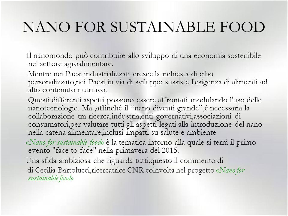 NANO FOR SUSTAINABLE FOOD