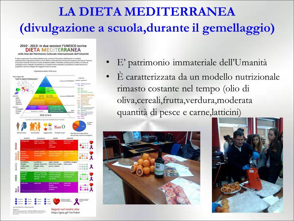 LA DIETA MEDITERRANEA (divulgazione a scuola,durante il gemellaggio)