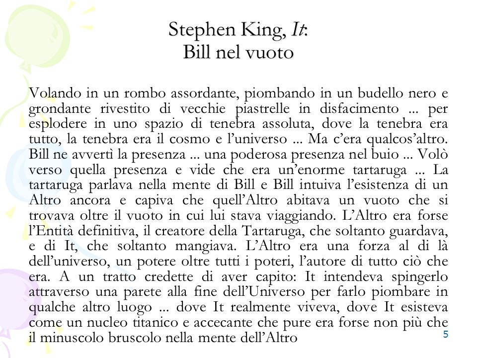 Stephen King, It: Bill nel vuoto