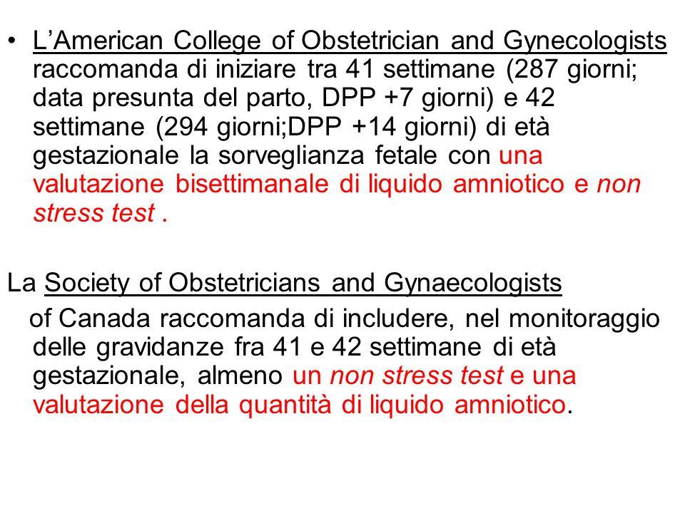 L'American College of Obstetrician and Gynecologists raccomanda di iniziare tra 41 settimane (287 giorni; data presunta del parto, DPP +7 giorni) e 42 settimane (294 giorni;DPP +14 giorni) di età gestazionale la sorveglianza fetale con una valutazione bisettimanale di liquido amniotico e non stress test .