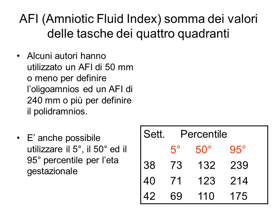 AFI (Amniotic Fluid Index) somma dei valori delle tasche dei quattro quadranti