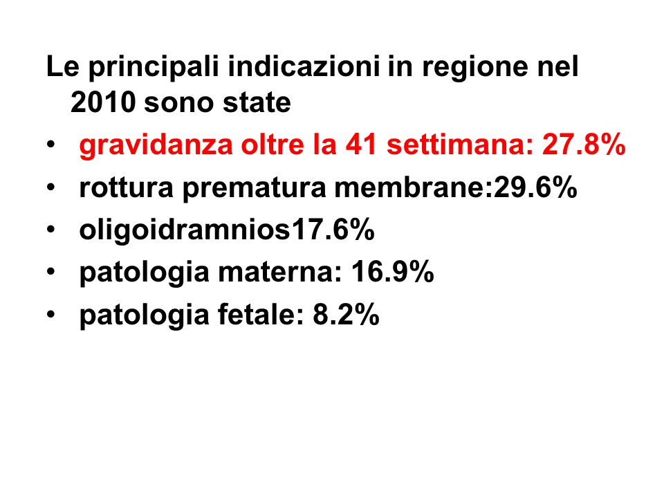 Le principali indicazioni in regione nel 2010 sono state