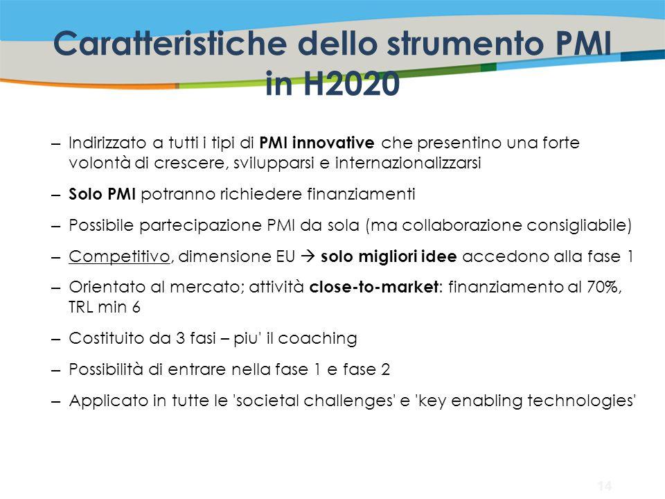 Caratteristiche dello strumento PMI