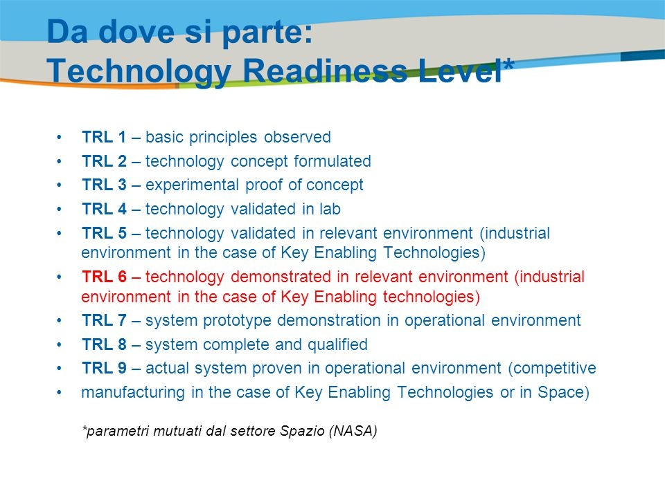Da dove si parte: Technology Readiness Level*