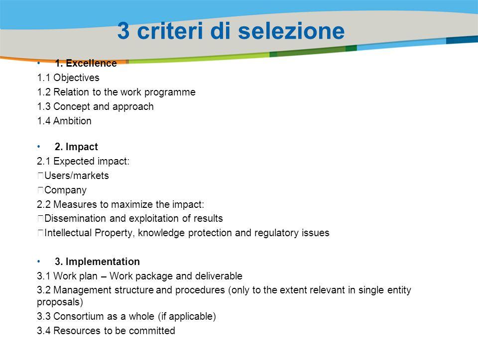 3 criteri di selezione 1. Excellence 1.1 Objectives