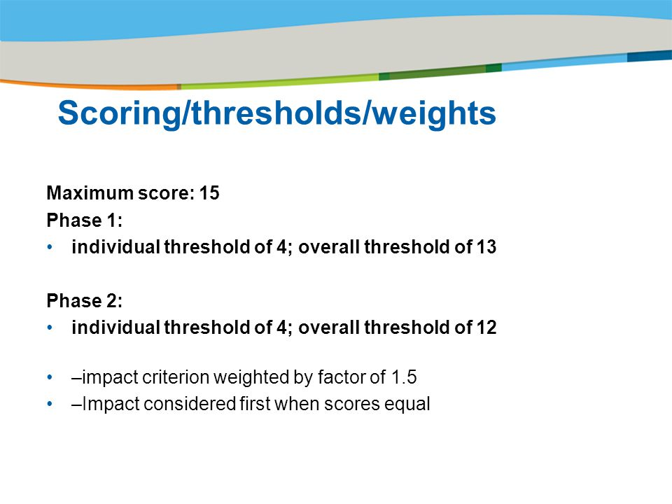 Scoring/thresholds/weights