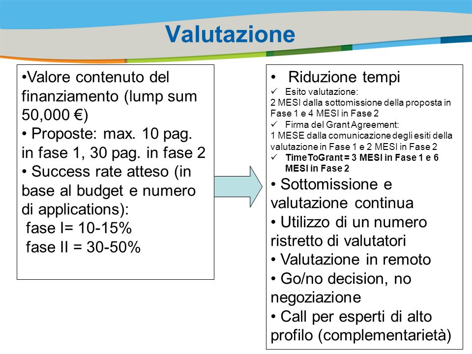 Valutazione Valore contenuto del finanziamento (lump sum 50,000 €)