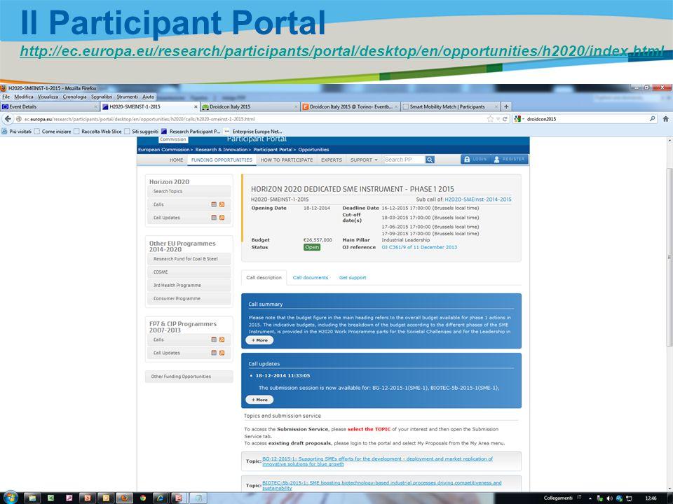 Il Participant Portal http://ec. europa