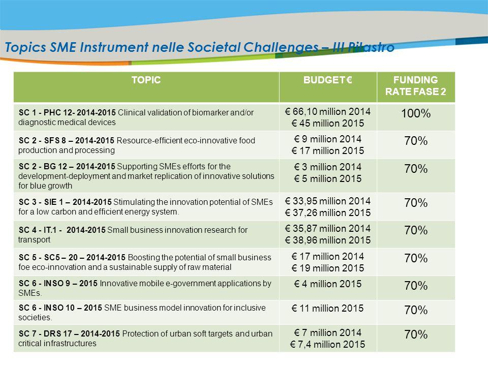 Topics SME Instrument nelle Societal Challenges – III Pilastro