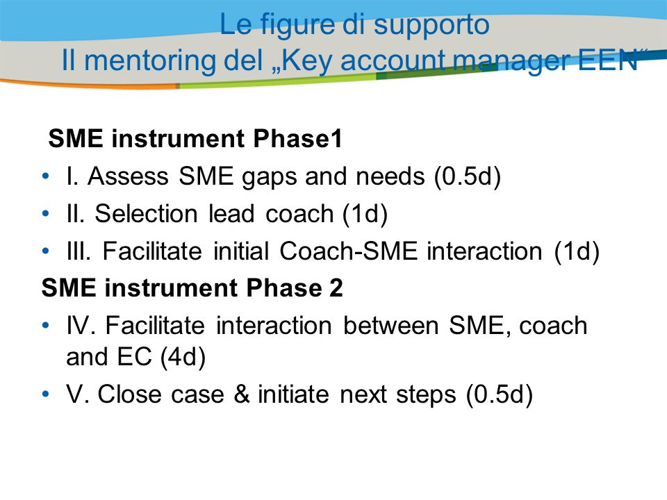 "Le figure di supporto Il mentoring del ""Key account manager EEN"
