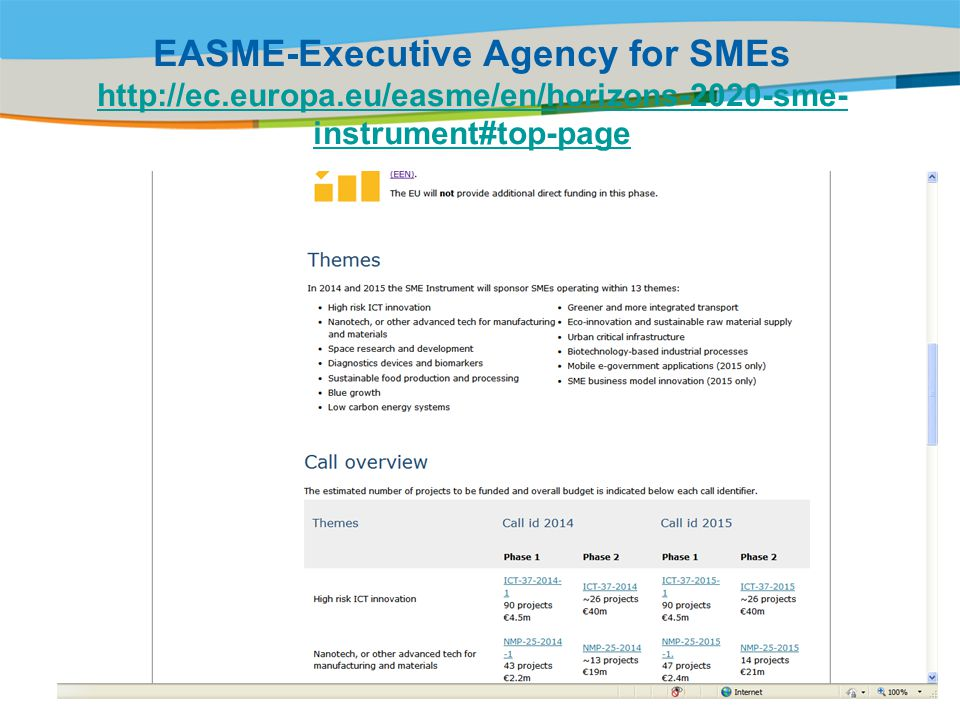 EASME-Executive Agency for SMEs http://ec. europa