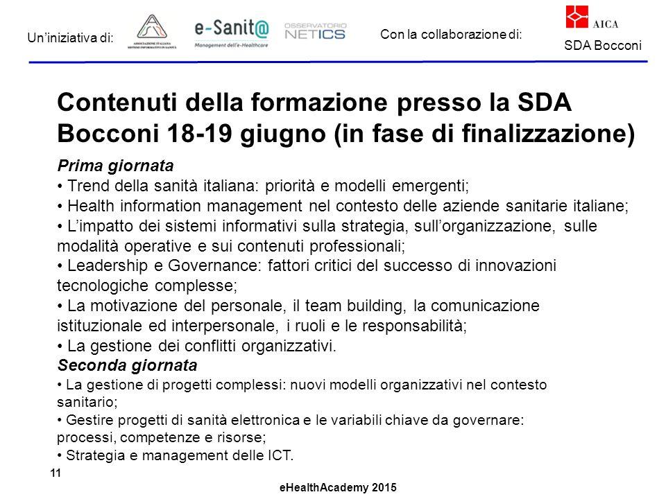 Contenuti della formazione presso la SDA Bocconi 18-19 giugno (in fase di finalizzazione)
