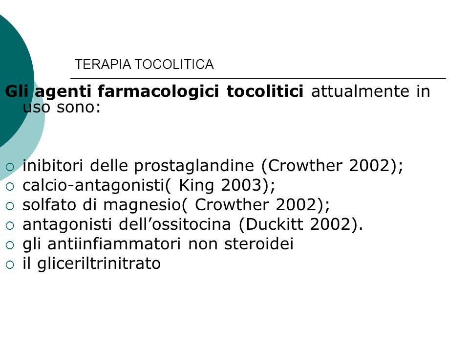 Gli agenti farmacologici tocolitici attualmente in uso sono: