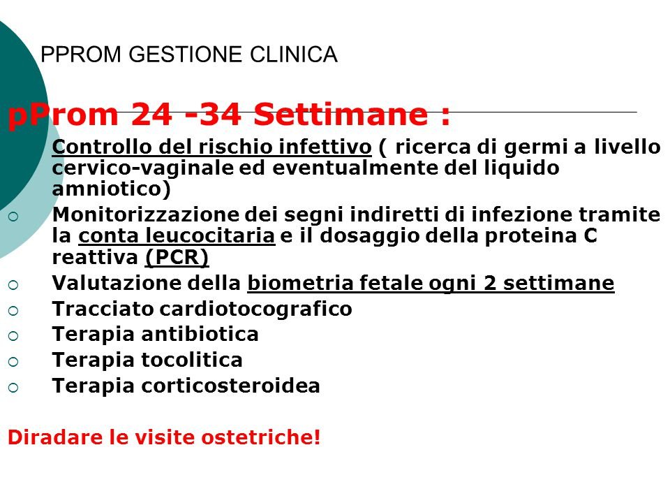 PPROM GESTIONE CLINICA