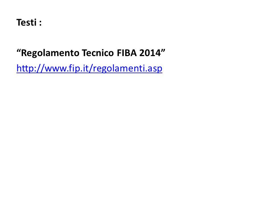 Testi : Regolamento Tecnico FIBA 2014 http://www.fip.it/regolamenti.asp