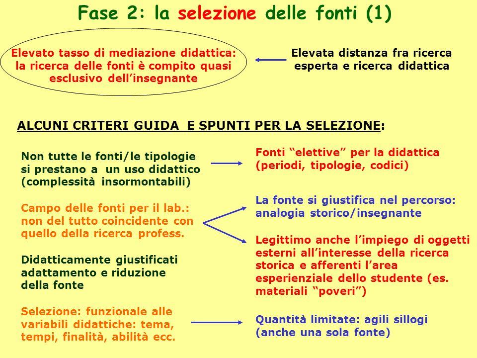 Fase 2: la selezione delle fonti (1)