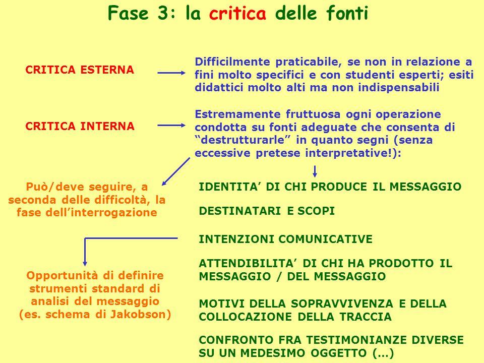 Fase 3: la critica delle fonti