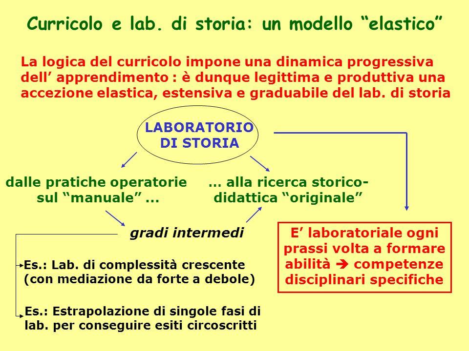 Curricolo e lab. di storia: un modello elastico