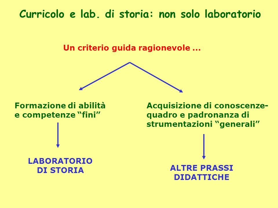 Curricolo e lab. di storia: non solo laboratorio