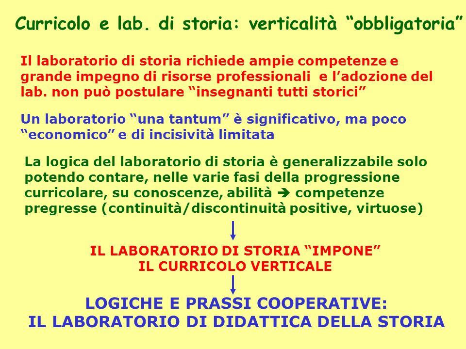 Curricolo e lab. di storia: verticalità obbligatoria