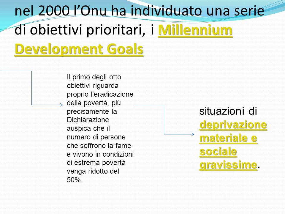 nel 2000 l'Onu ha individuato una serie di obiettivi prioritari, i Millennium Development Goals