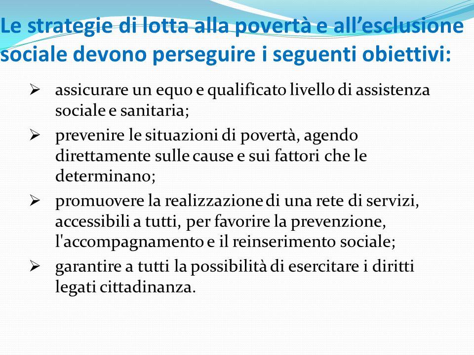 Le strategie di lotta alla povertà e all'esclusione sociale devono perseguire i seguenti obiettivi:
