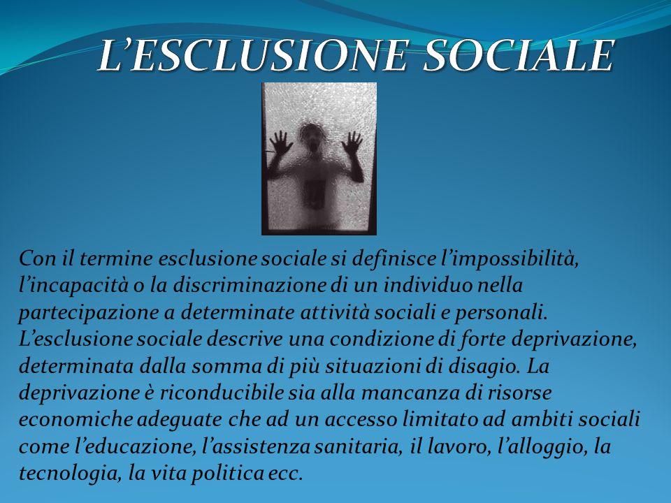 L'ESCLUSIONE SOCIALE