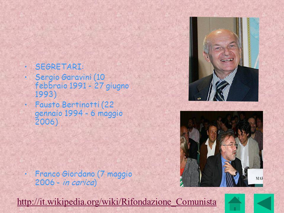 http://it.wikipedia.org/wiki/Rifondazione_Comunista SEGRETARI: