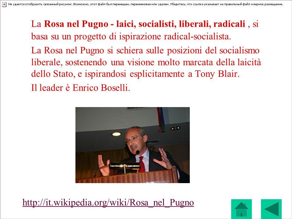 La Rosa nel Pugno - laici, socialisti, liberali, radicali , si basa su un progetto di ispirazione radical-socialista.