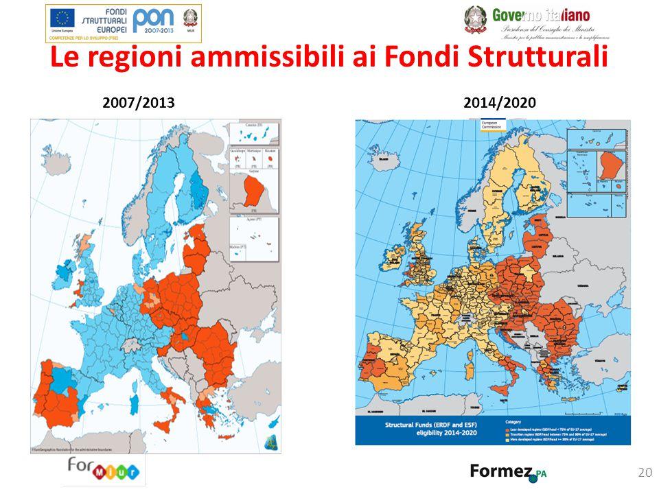 Le regioni ammissibili ai Fondi Strutturali