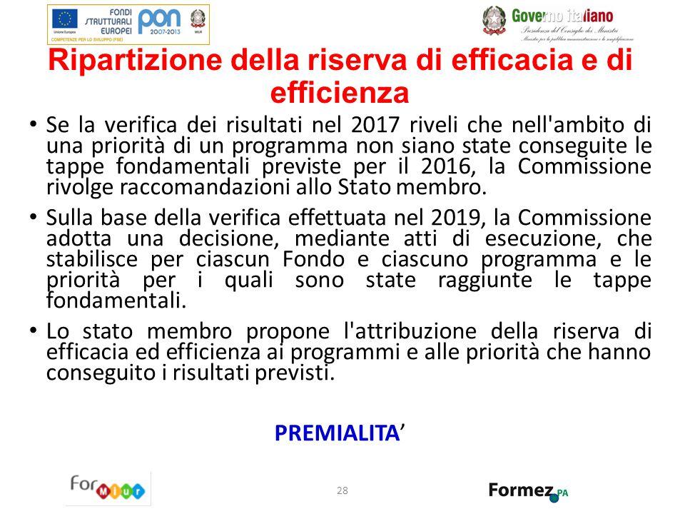 Ripartizione della riserva di efficacia e di efficienza