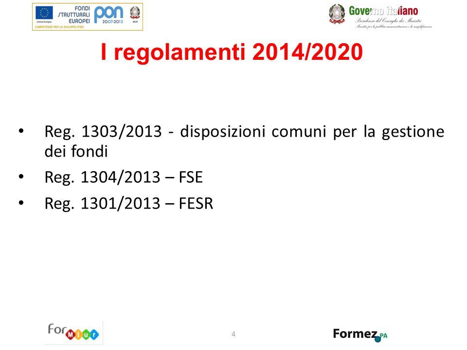 I regolamenti 2014/2020 Reg. 1303/2013 - disposizioni comuni per la gestione dei fondi. Reg. 1304/2013 – FSE.