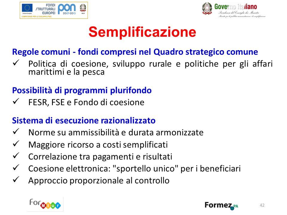 Semplificazione Regole comuni - fondi compresi nel Quadro strategico comune.