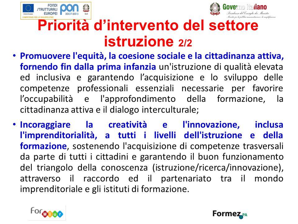 Priorità d'intervento del settore istruzione 2/2