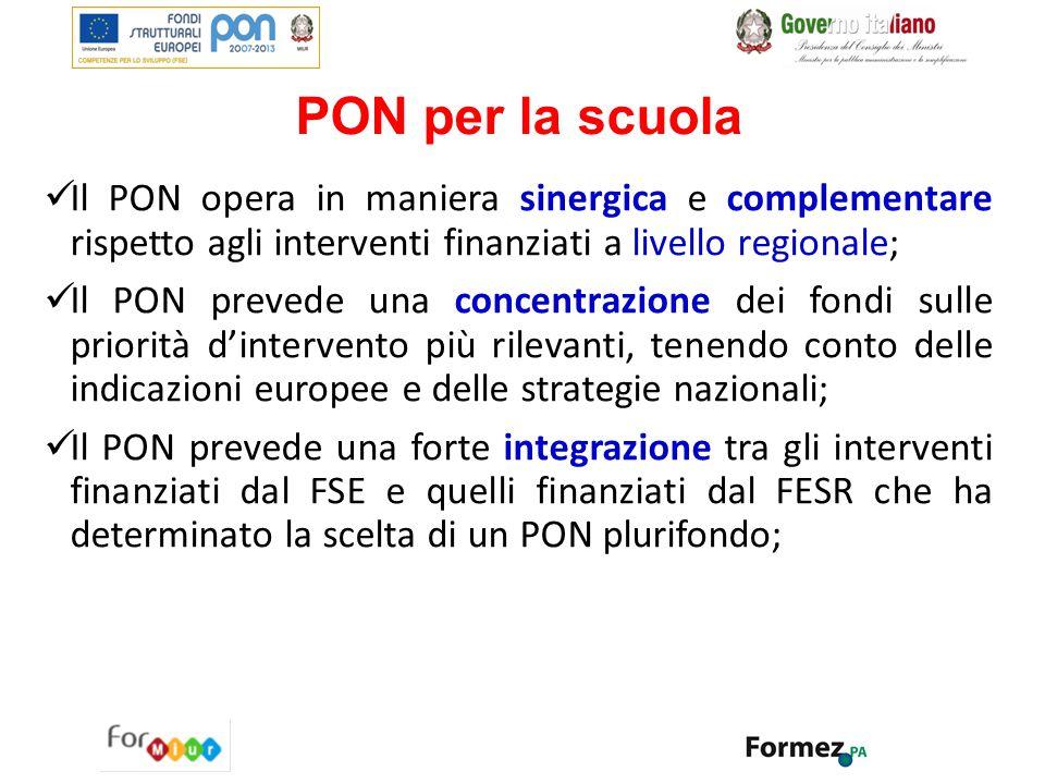 PON per la scuola Il PON opera in maniera sinergica e complementare rispetto agli interventi finanziati a livello regionale;