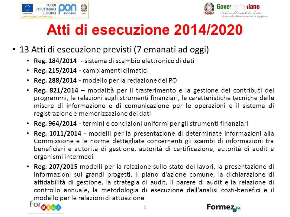 Atti di esecuzione 2014/2020 13 Atti di esecuzione previsti (7 emanati ad oggi) Reg. 184/2014 - sistema di scambio elettronico di dati.