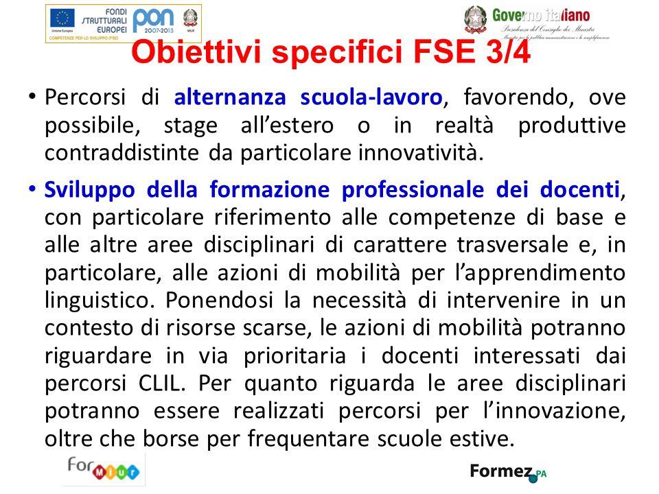 Obiettivi specifici FSE 3/4