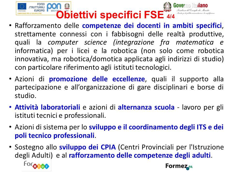 Obiettivi specifici FSE 4/4
