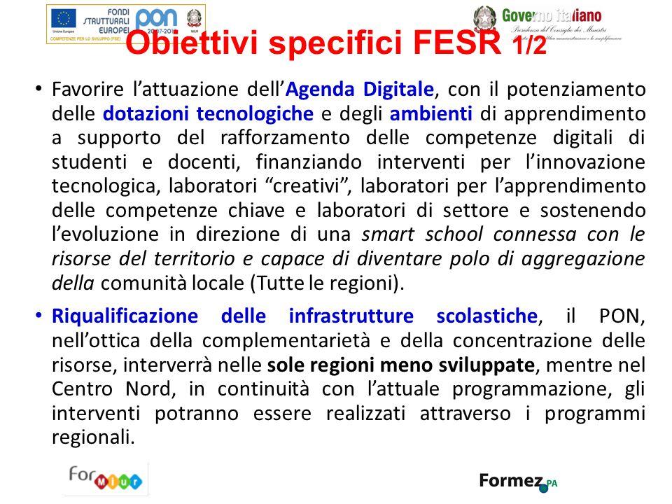 Obiettivi specifici FESR 1/2