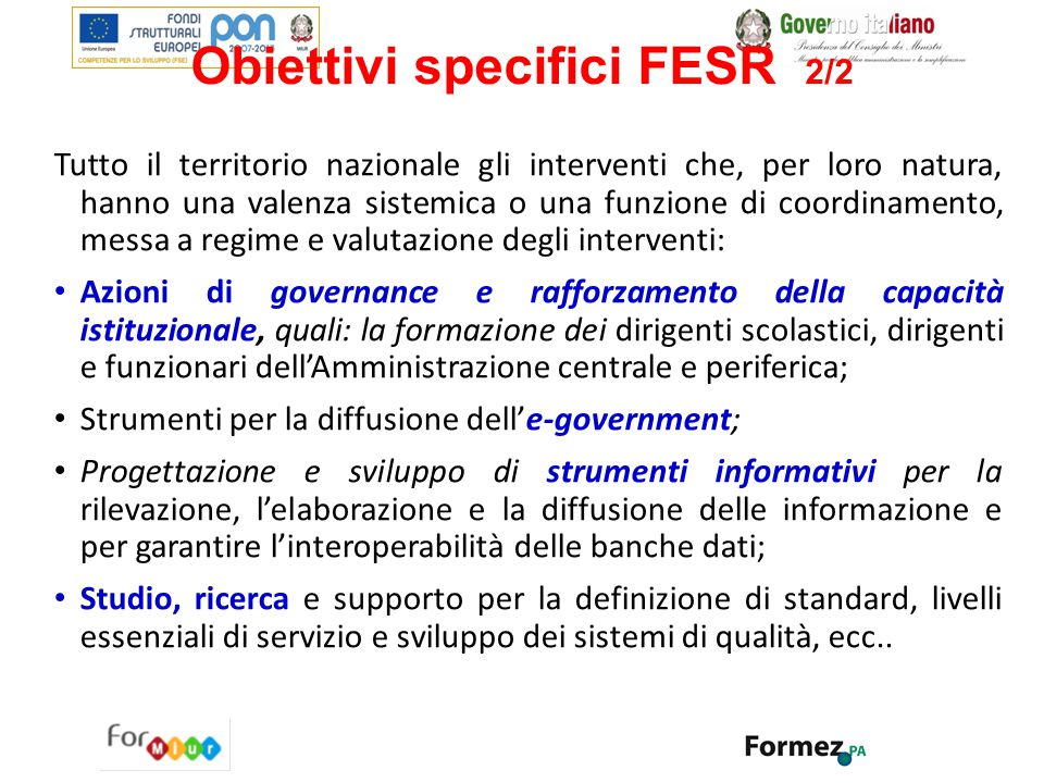 Obiettivi specifici FESR 2/2