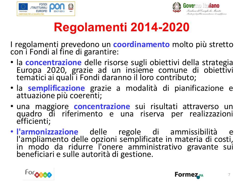 Regolamenti 2014-2020 I regolamenti prevedono un coordinamento molto più stretto con i Fondi al fine di garantire: