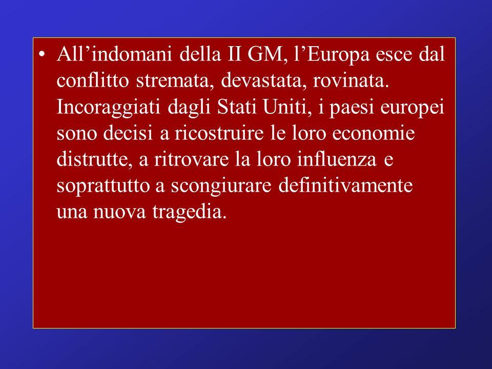All'indomani della II GM, l'Europa esce dal conflitto stremata, devastata, rovinata.