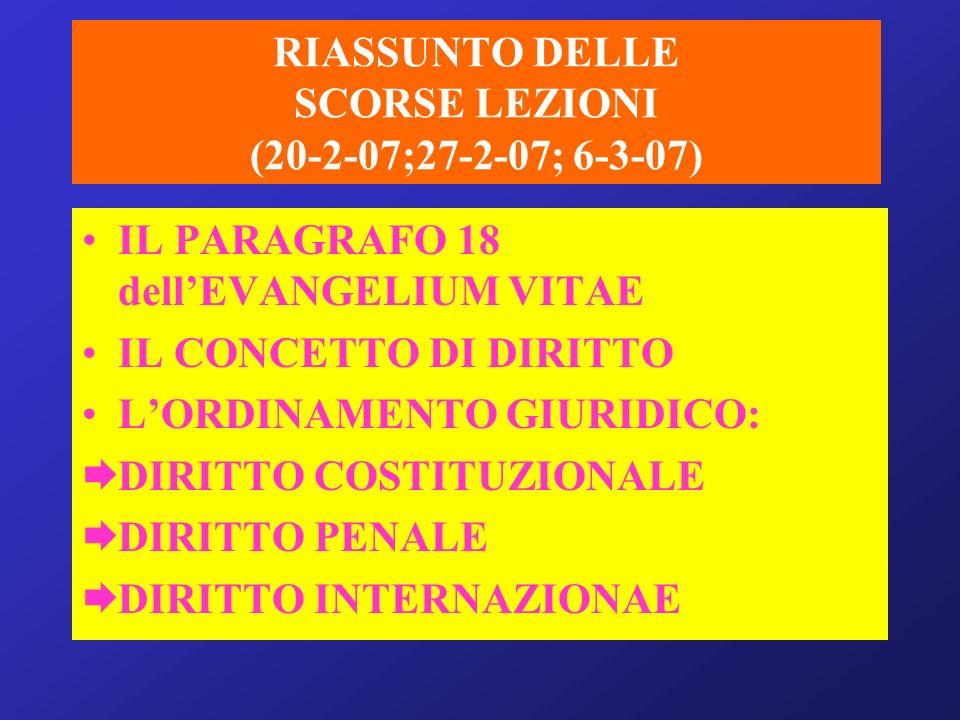 RIASSUNTO DELLE SCORSE LEZIONI (20-2-07;27-2-07; 6-3-07)