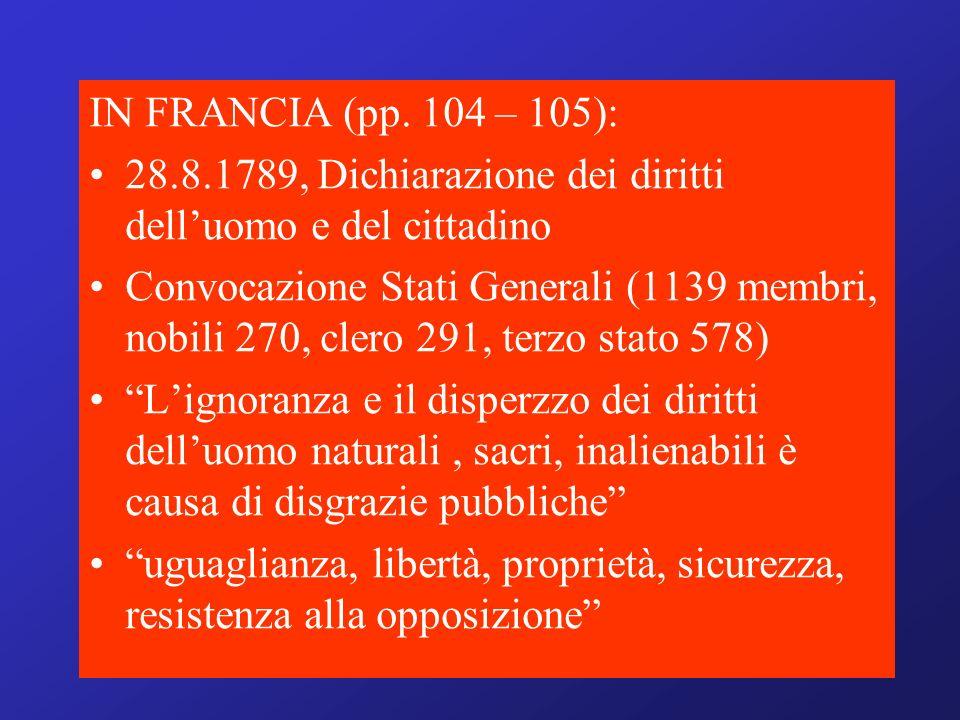 IN FRANCIA (pp. 104 – 105): 28.8.1789, Dichiarazione dei diritti dell'uomo e del cittadino.