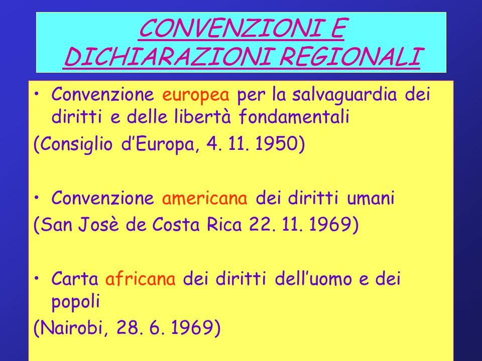 CONVENZIONI E DICHIARAZIONI REGIONALI