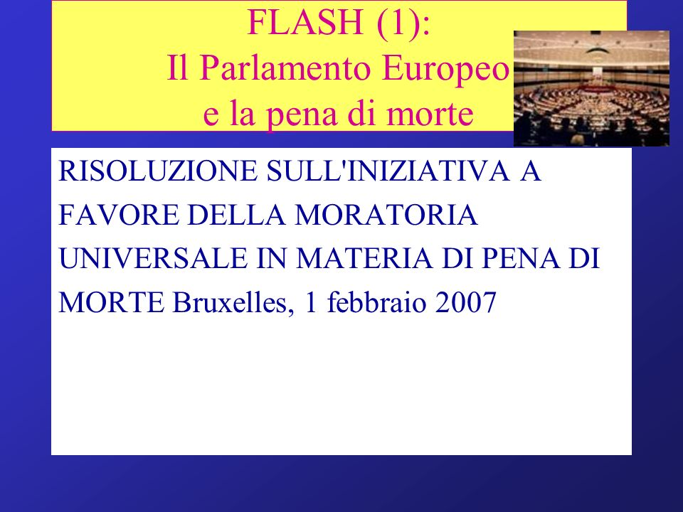 FLASH (1): Il Parlamento Europeo e la pena di morte