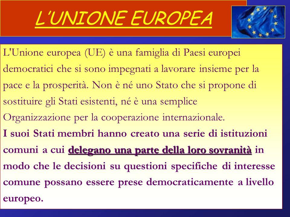 L'UNIONE EUROPEA L Unione europea (UE) è una famiglia di Paesi europei