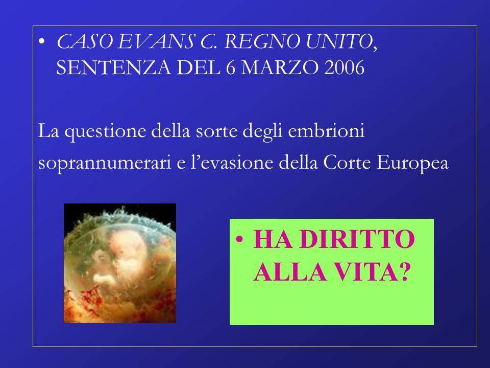 CASO EVANS C. REGNO UNITO, SENTENZA DEL 6 MARZO 2006